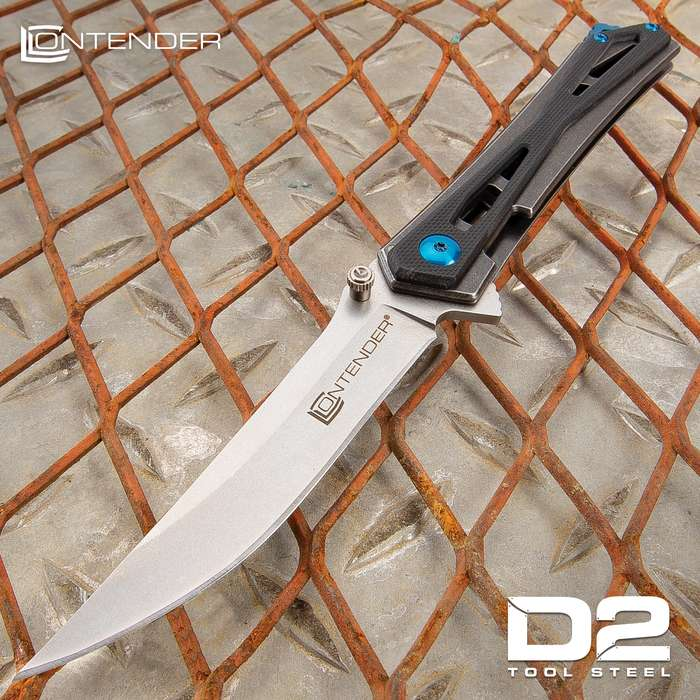 """Contender Avion D2 Advanced Ball Bearing Pocket Knife - D2 Tool Steel Blade, G10 Handle Scales, Ball Bearing Opening - 4 1/2"""" Closed"""
