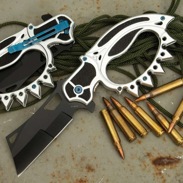 """Black Road Warrior Folding Trench Knife - 3Cr13 Stainless Steel Blade, Metal And ABS Handle, Spikes, Pocket Clip - Closed Length 5 1/2"""""""