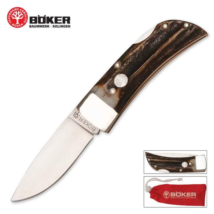 Boker Drop Point Stag Folding Knife