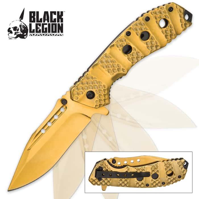 Black Legion Sulfide Assisted Opening Pocket Knife - Gold Finish