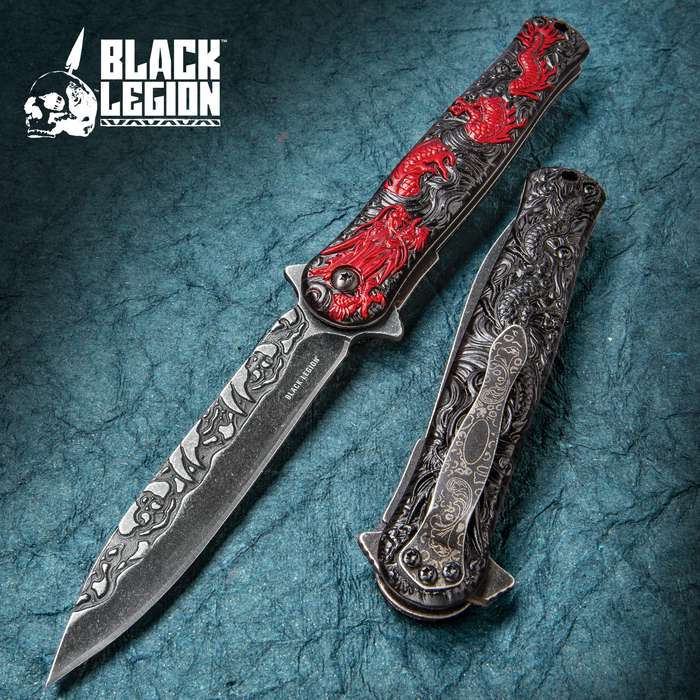 Black Legion Red Chinese Dragon Deity Stiletto Knife - Stainless Steel Blade, Assisted Opening, Anodized Aluminum Handle, Pocket Clip
