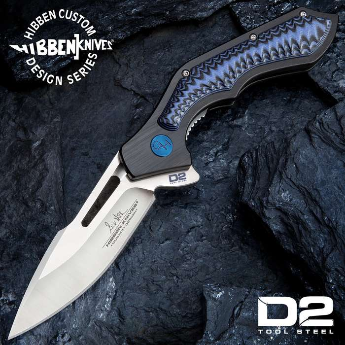 Hibben Hurricane D2 Pocket Knife - D2 Tool Steel Blade, CNC Machined, Ball Bearings, Blue And Black G10 Handle Scales