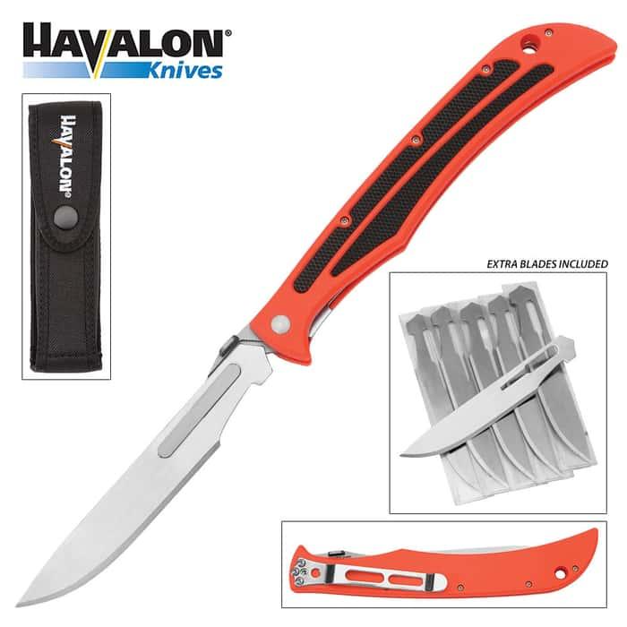 Havalon Baracuta Blaze Pocket Knife w/ 5 Replacement Blades, Nylon Holster