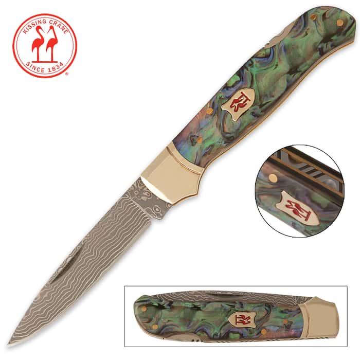 Kissing Crane Limited Edition Abalone Damascus Lockback Pocket Knife