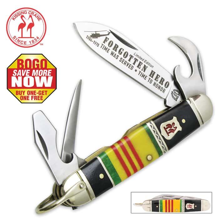 "Kissing Crane ""Forgotten Heroes"" Vietnam Veteran Scout Pocket Knife - Limited Edition - BOGO"
