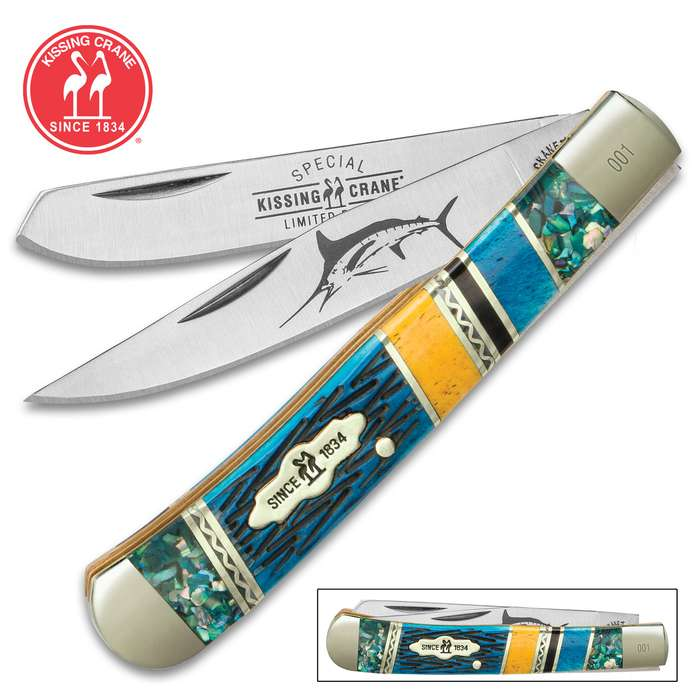 Kissing Crane Bahama Blue Trapper Pocket Knife - 440 Stainless Steel Blades, Genuine Abalone, Bone Handle, Brass Liners, Polished Bolsters, Individually Serialized