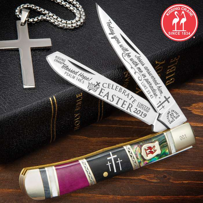Kissing Crane 2019 Easter Trapper Pocket Knife - Stainless Steel Blades, Bone And Abalone Handle, Nickel Silver Bolsters