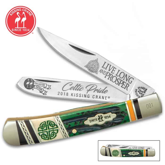 Kissing Crane Celtic Pride Trapper Pocket Knife
