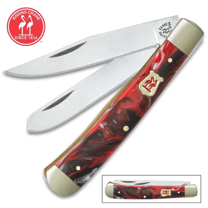 Kissing Crane Dynamite Red Trapper Pocket Knife