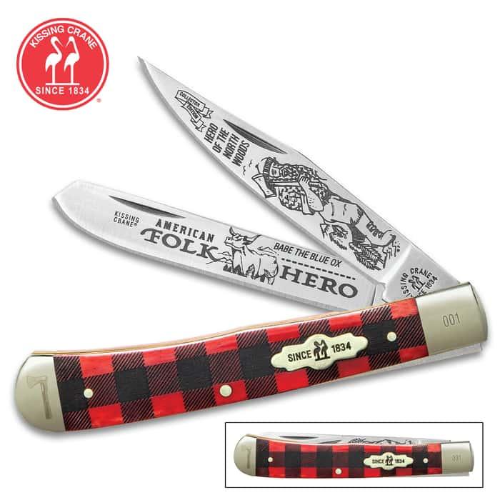 Kissing Crane Paul Bunyan Trapper Pocket Knife - Stainless Steel Blades, Genuine Bone Handle, Nickel Silver Bolsters, Brass Liner