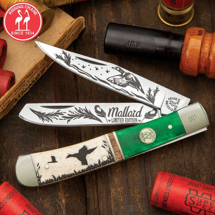 Kissing Crane Mallard Trapper Pocket Knife - Stainless Steel Blades, Bone Handle, Brass Liners, Polished Bolsters, Individually Serialized
