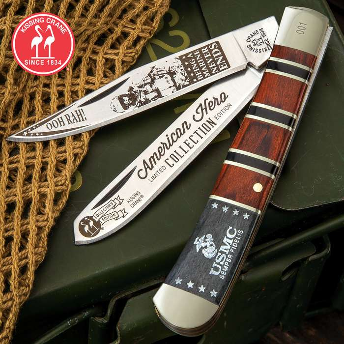 Kissing Crane 2019 USMC Ooh Rah Trapper Pocket Knife - Stainless Steel Blades, Bone And Pakkawood Handle Scales, Nickel Silver Bolsters, Brass Liner