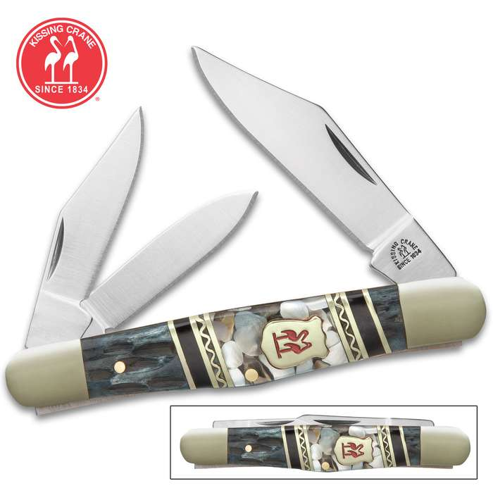 Kissing Crane Smoky Hollow Fiddleback Pocket Knife - Stainless Steel Blades, Genuine Bone And Pearl Handle Scales, Nickel Silver Bolsters