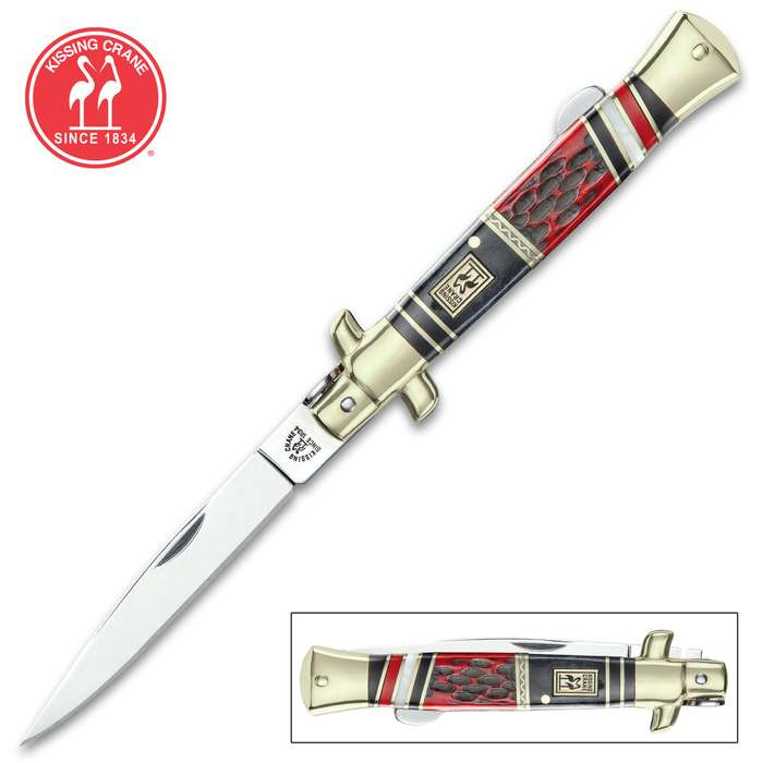 Kissing Crane Red Dawg Stiletto Knife - Stainless Steel Blade, Bone And Pearl Handle Scales, Nickel Silver Bolsters, Brass Liner