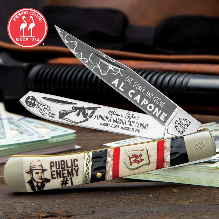 Kissing Crane Al Capone Trapper Pocket Knife - Stainless Steel Blades, Bone Handle, Brass Liners, Polished Bolsters, Individually Serialized