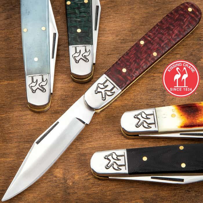 Kissing Crane Heirloom Barlow Pocket Knife With Sheath - 1070 High Carbon Spring Steel Blade, Micarta Handle Scales, Brass Pins