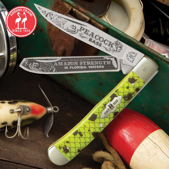 Kissing Crane Peacock Bass Trapper Pocket Knife - Stainless Steel Blades, Embossed Fuzion Handle Scales, Nickel Silver Bolsters