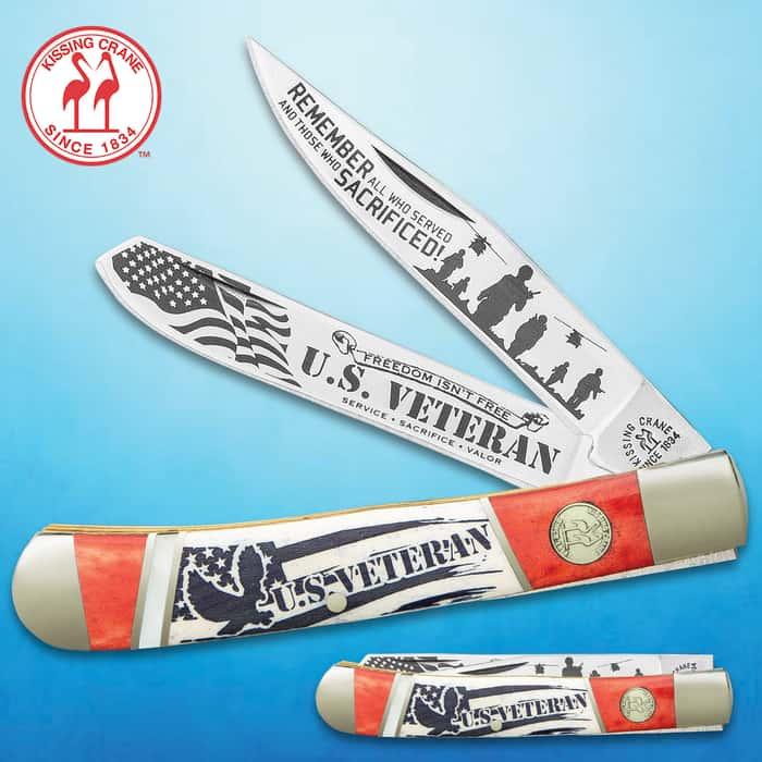 Kissing Crane US Veteran Trapper Pocket Knife - Stainless Steel Blades, Bone And Pearl Handle, Nickel Silver Bolsters