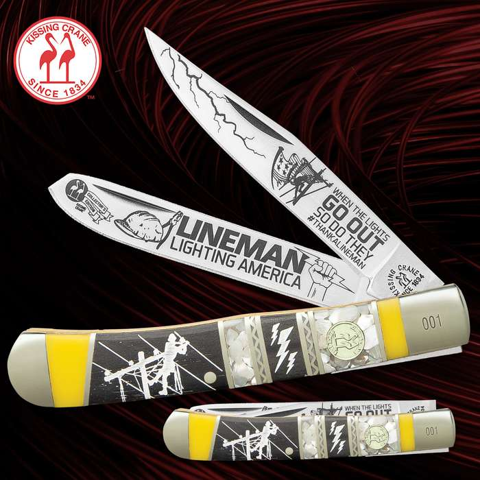 Kissing Crane Lineman II Trapper Pocket Knife - Stainless Steel Blades, Bone And Natural Exotics Handle Scales, Nickel Silver Bolsters, Brass Liner