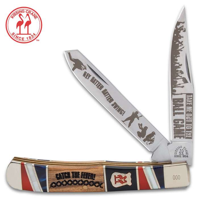 Perfect for the baseball fanatic, our Kissing Crane Baseball Trapper Pocket Knife is as All-American as Mother and Apple Pie