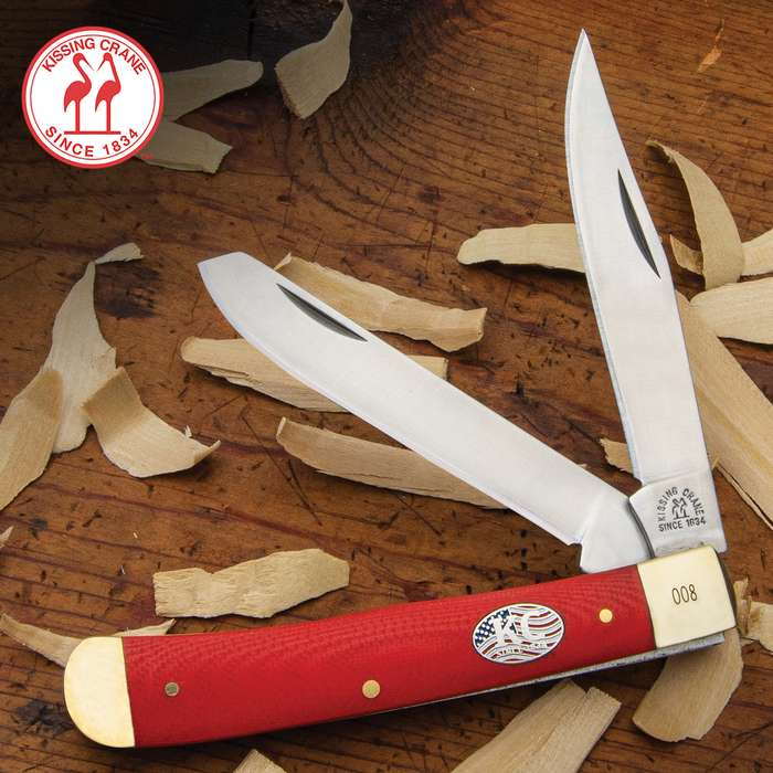 The Kissing Crane Red American Series Trapper is an All-American pocket knife that will be your go-to everyday carry
