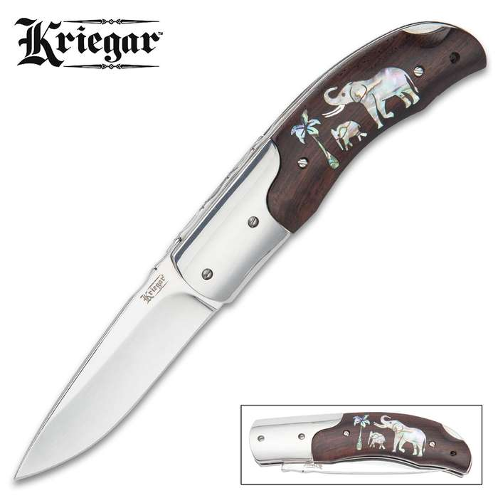 Kriegar Abalone Inlay Elephant Pocket Knife