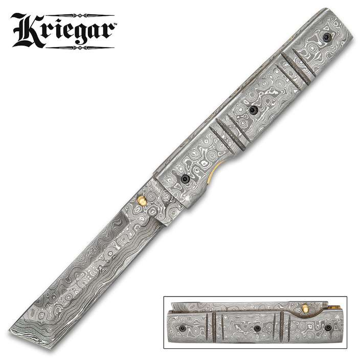 Kriegar Damascus Pocket Knife With Sheath - Damascus Steel Blade, Damascus Steel Handle, Brass And Fileworked Liners