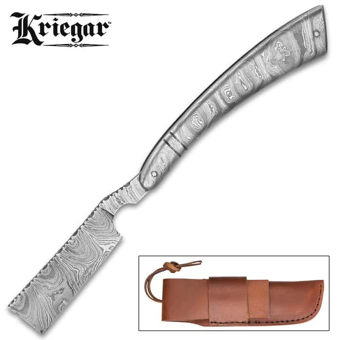 Kriegar Gentleman's Damascus Pocket Razor Knife With Sheath - Damascus Steel Blade, Fileworked, Damascus Steel Handle