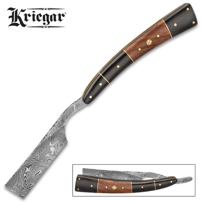 Kriegar Gentleman's Wooden Pocket Razor Knife With Sheath - Damascus Steel Blade, Fileworked, Wooden Handle, Extended Tang