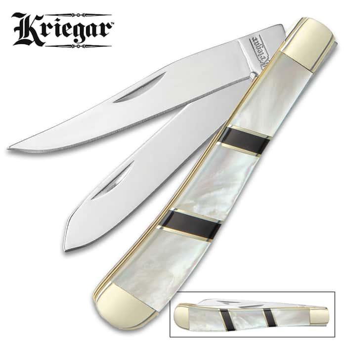 Kriegar Ascot Trapper Pocket Knife - Stainless Steel Blades, Genuine Mother Of Pearl Handle, Brass Liners, Nickel Silver Bolsters