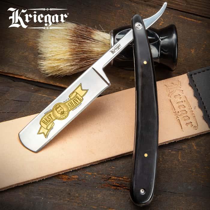 "Kriegar Black Velvet Best Shave Razor - Stainless Steel Blade, Black Acrylic Handle Scales, Brass Pins, Stainless Liners - Length 10"""