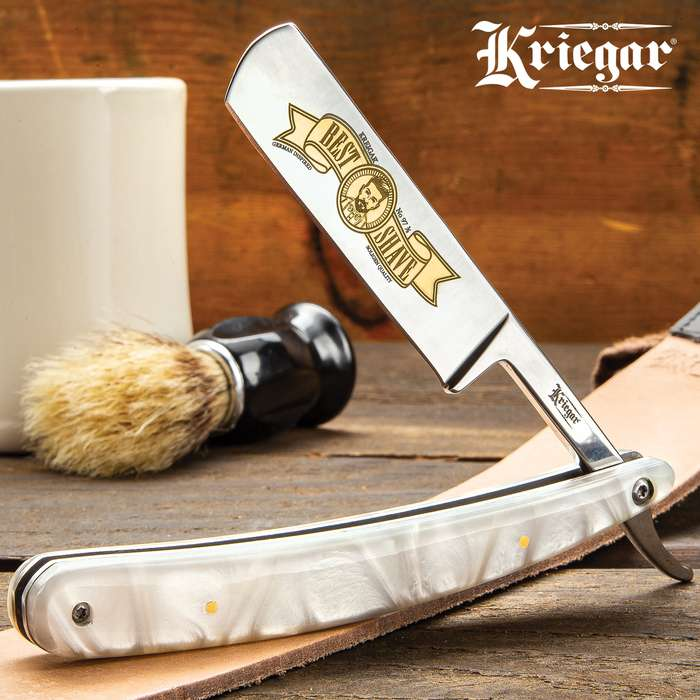 Kriegar Sicilian Pearl Best Shave Razor - Stainless Steel Blade, Faux Pearl Handle Scales, Brass Pins, Stainless Steel Liners - Length 10""