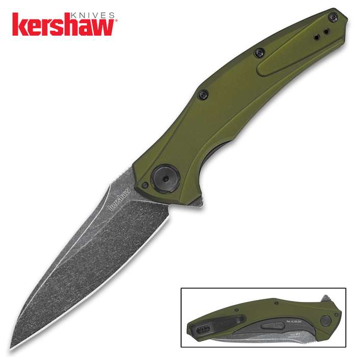 Olive-and-black and made-in-the-USA, this Kershaw Bareknuckle Pocket Knife has a slim profile and is crafted of premium materials