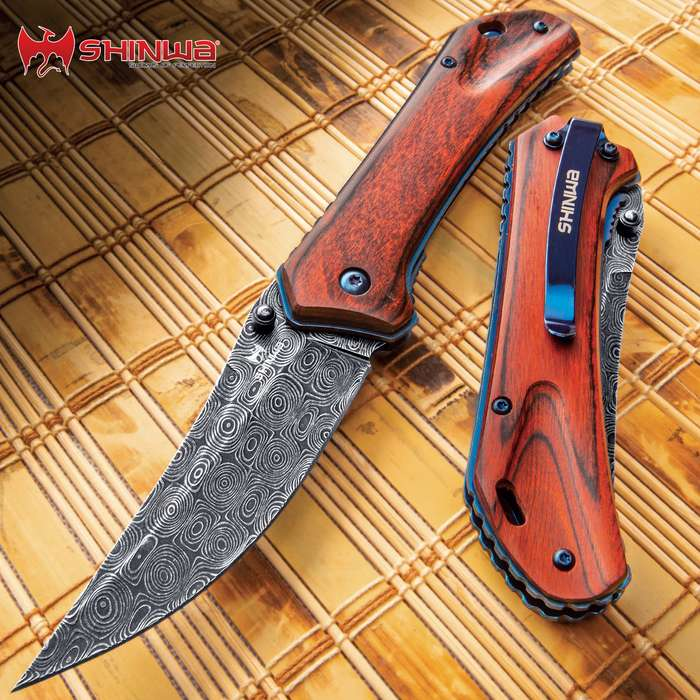 Shinwa Zhanshi Bloodwood Assisted Opening Pocket Knife - Stainless Steel Blade, Wooden Handle Scales, Blue Liners And Pocket Clip
