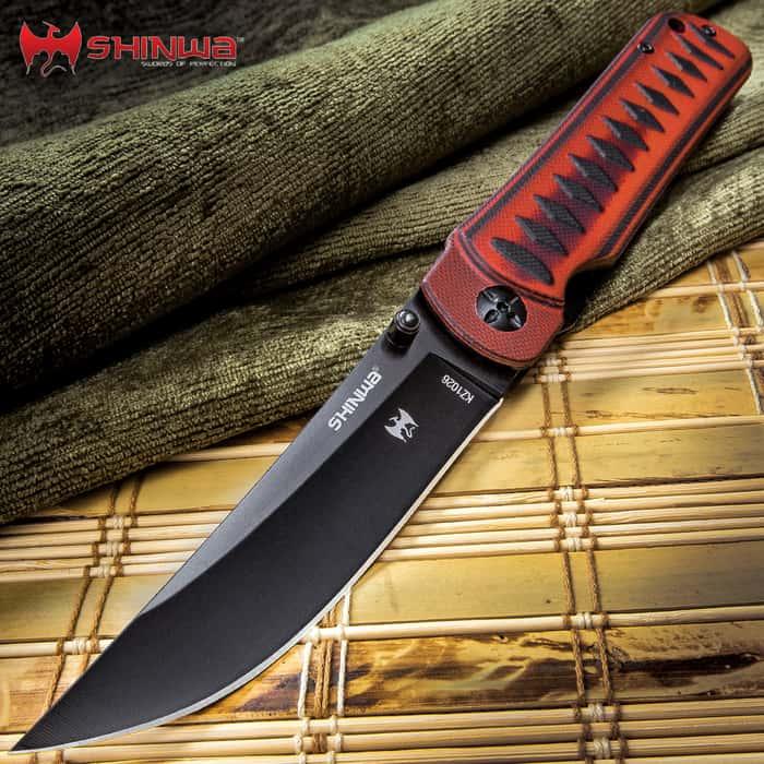 Shinwa Red Tsuka Pocket Knife - 3Cr13 Stainless Steel Blade, Molded G10 Handle, Ball Bearing Mechanism, Pocket Clip