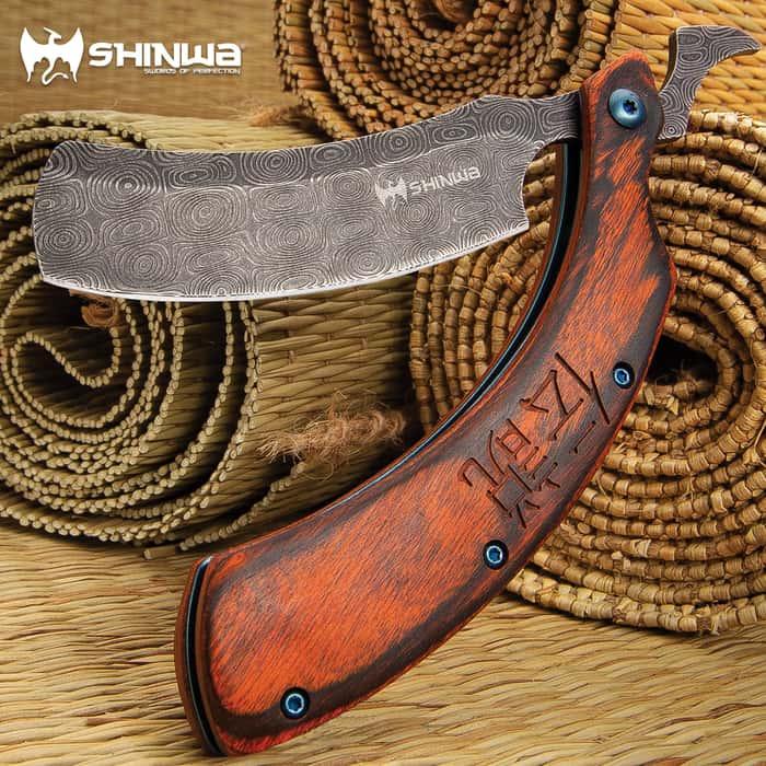 "Shinwa Kamisori Bloodwood Folding Razor Knife - Stainless Steel Blade, Damascus Pattern Finish, Wooden Handle Scales - 6"" Closed"