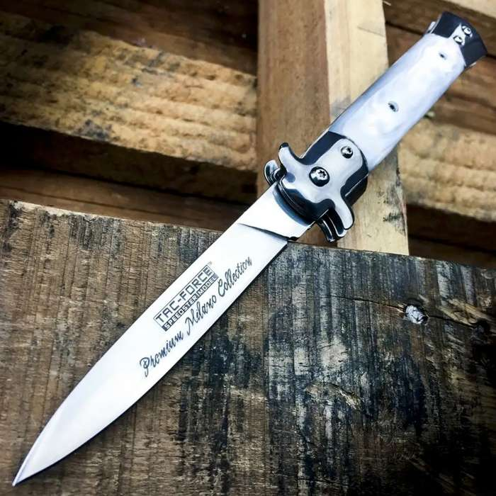 TAC-FORCE Godfather Pearl Stiletto Spring Assist Open Folding Blade Pocket Knife