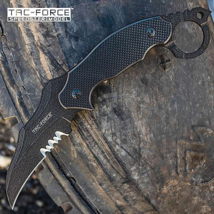 Tac-Force Covert Hawkbill Fixed Blade Knife With Sheath - 3Cr13 Stainless Steel Blade, Black Finish, G10 Handle Scales - Length 9 1/2""