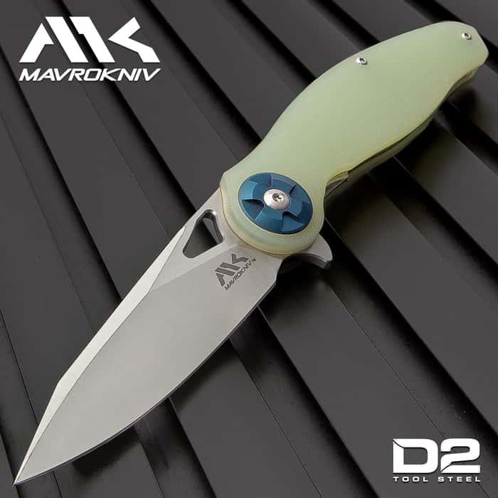 "Mavrokniv Spectre Pocket Knife - D2 Tool Steel Blade, Ball Bearing Opening, G10 Handle Scales, Pocket Clip - 4 3/4"" Closed"