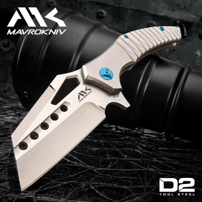 "Mavrokniv Leviathan Pocket Knife - D2 Steel Blade, Aluminum Handle, CNC Finish, Ball Bearing Opening, Pocket Clip - Closed 4 1/2"""