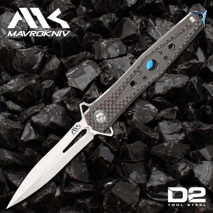 "Mavrokniv Apex Pocket Knife - D2 Tool Steel Blade, Ball Bearing Opening, G10 And Carbon Steel Handle Scales, Pocket Clip - 5"""