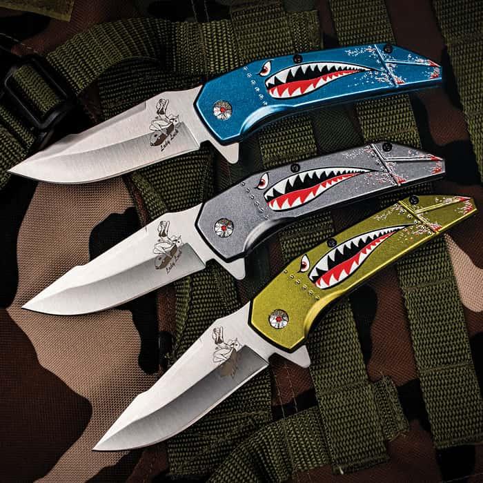 MTech USA Fighter Shark Pocket Knife - 3Cr13 Stainless Steel Blade, Anodized Aluminum Handle, Vintage Military Artwork, Pocket Clip