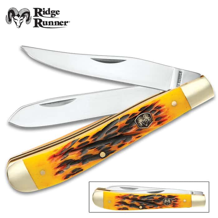 Ridge Runner Yellow Bone Trapper Pocket Knife - 3Cr13 Stainless Steel Blades, Bone Handle, Brass Liner, Nickel Silver Bolsters