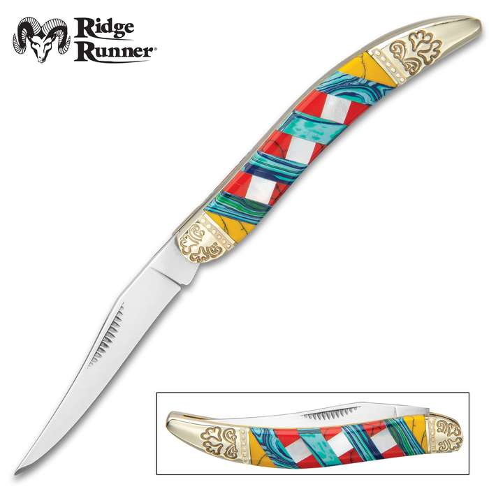 Ridge Runner Moroccan Mosaic Toothpick Pocket Knife - 3Cr13 Stainless Steel Blade, Multi-Stone Handle, Nickel Silver Bolsters, Brass Liners