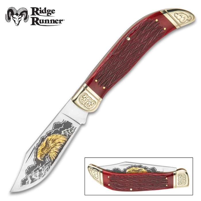 Ridge Runner Eagle Head Pocket Knife - 3Cr13 Stainless Steel Blade, Etched Artwork, Bone Handle, Nickel Silver Bolsters