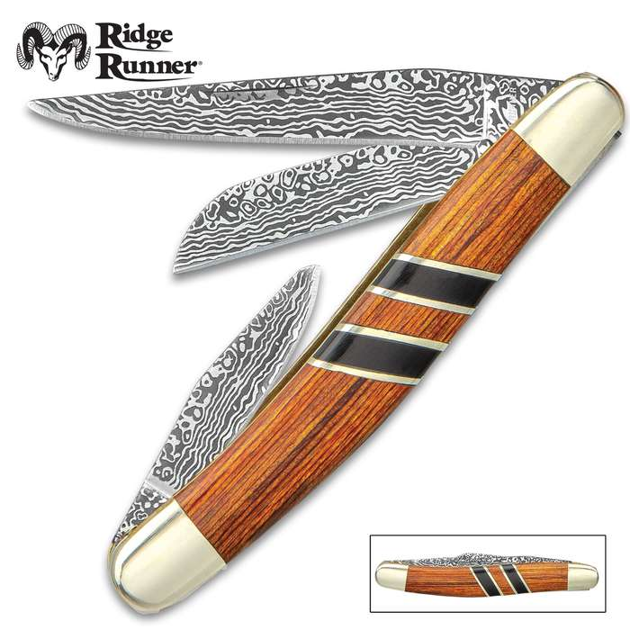 Ridge Runner Royal Admiralty Stockman Pocket Knife - 3Cr13 Stainless Steel Blades, Wooden Handle Scales, Nickel Silver Bolsters