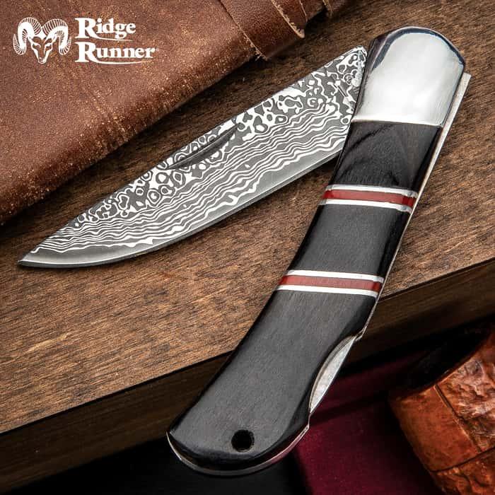Ridge Runner Racer Lockback Pocket Knife - 3Cr13 Stainless Steel Blade, Damascus Pattern, Pakkawood Handle, Stainless Steel Bolster