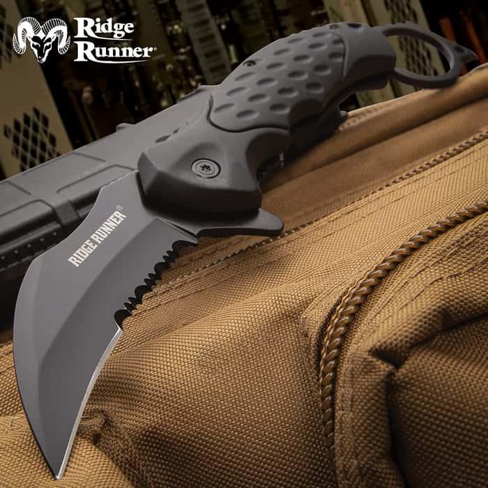 Ridge Runner Field Shadow Karambit Knife - Stainless Steel Blade, Non-Reflective, TPR Handle, Open-Ring Pommel, Pocket Clip