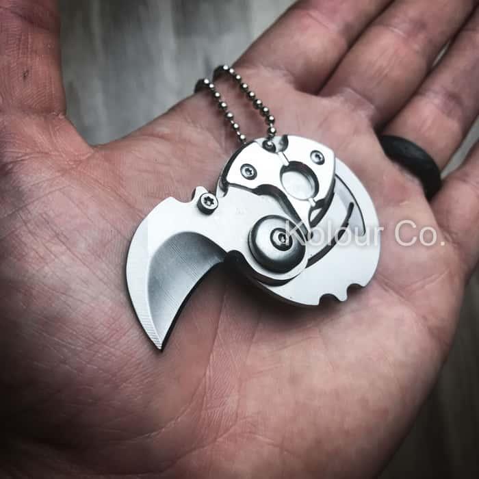 Mini Coin EDC Keyring Keychain Necklace Karambit Steel Neck Claw Folding Knife