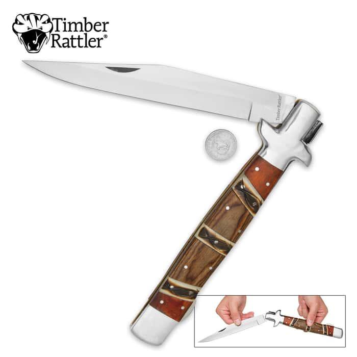 Timber Rattler Heartwood Giant Stiletto Pocket Knife